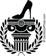 chaussure, femmes, colonne
