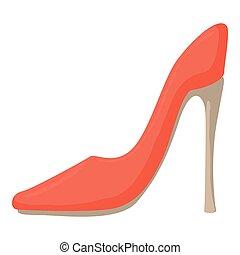 chaussure, icône, dessin animé, style