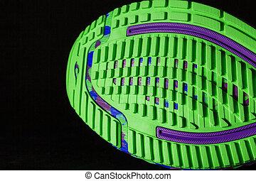 chaussure noire, semelle, textured, sportif, arrière-plan., vert, courant