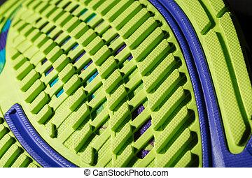 chaussure, textured, arrière-plan., semelle, courant, vert, noir, sportif
