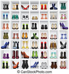 chaussures, étagères