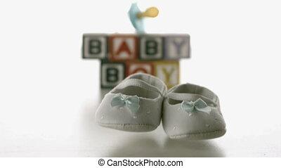 chaussures, bleu bébé, tomber, devant