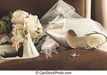 chaussures, bouquet, roses, mariage, blanc, chaise