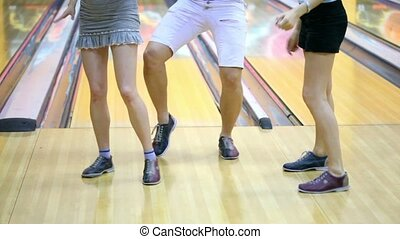 chaussures, danse, filles, deux, une, bowling, type, jambes