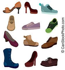 chaussures, dessin animé, icône