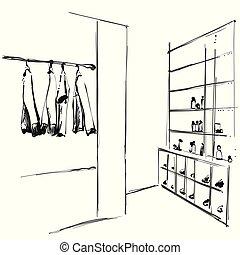 chaussures, hanger., étagères, main, garde-robe, dessiné, vêtements, sketch.