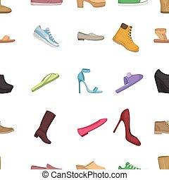 chaussures, icônes, grand, symbole., collection, dessin animé, vecteur, illustration, modèle, style.