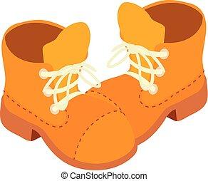 chaussures, isométrique, icône, dessin animé, style