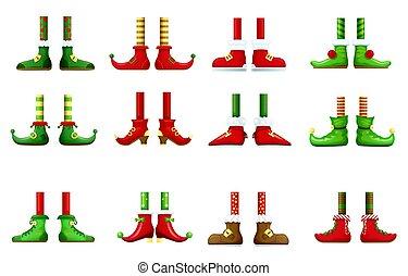 chaussures, pieds, lutin, elfe, noël