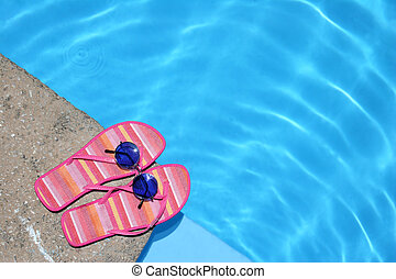 chaussures, piscine