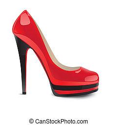 chaussures, rouges, à hauts talons