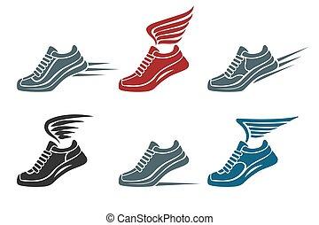 chaussures, sport, ensemble, emblème