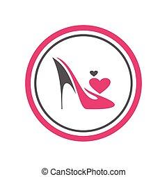 chaussures, talons, élevé, logo, icône