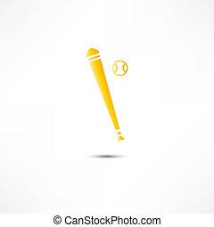 chauve-souris, base-ball, icône