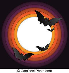 chauve-souris, cadre, halloween, fond, cercle, citrouille