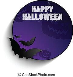 chauve-souris, -, cadre, halloween, vecteur, fond, cercle, citrouille