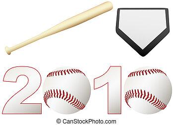chauve-souris, ensemble, saison, balles, base, base-ball, 2010
