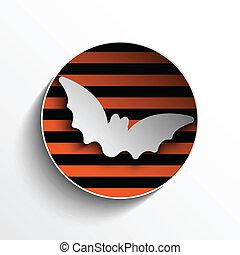 chauve-souris, halloween, cercle, citrouille, cadre, bouton