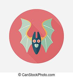 chauve-souris, ombre, icône, eps10, plat, long