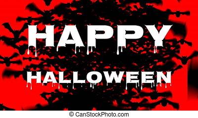 chauves-souris, heureux, fond, halloween, rouges