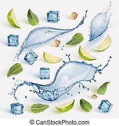 chaux, frais, cubes., menthe, glace