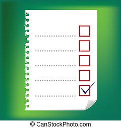checkbox, -, bloc-notes, haut, illustration, papier, fin