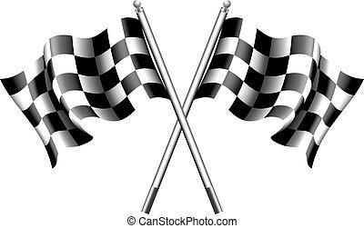 checkered, drapeaux, moteur, chequered