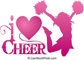 cheerlead, acclamation, sauter, amour