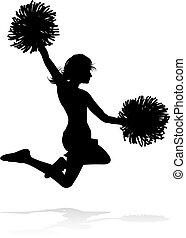 cheerleader, pom, silhouette, poms