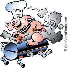 chef cuistot, baril, équitation, cochon, barbecue