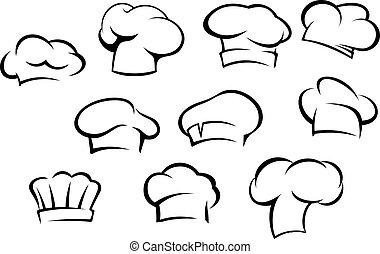 chef cuistot, blanc, chapeaux, casquettes