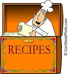 chef cuistot, boîte, recette