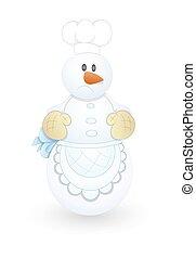 chef cuistot, bonhomme de neige, caractère, dessin animé, triste
