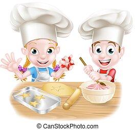 chef cuistot, boulanger, dessin animé, enfants