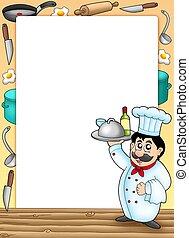 chef cuistot, cadre, repas, tenue