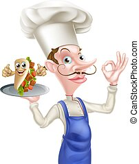 chef cuistot, chiche-kebab, dessin animé