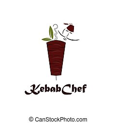 chef cuistot, chiche-kebab, illustration