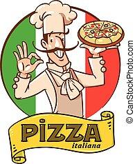 chef cuistot, conception, emblème, pizza., rigolote, italien