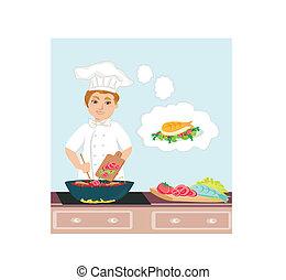 chef cuistot, cuisine, gai, cuisiniers