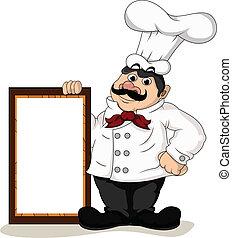 chef cuistot, cuisinier, planche, vide