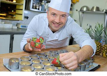 chef cuistot, dessert, travail