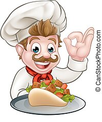 chef cuistot, dessin animé, chiche-kebab