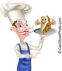 chef cuistot, dessin animé, chiche-kebab, poiting