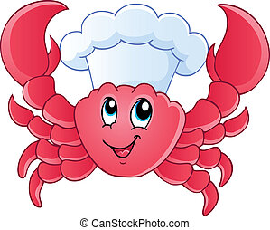 chef cuistot, dessin animé, crabe