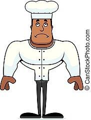 chef cuistot, dessin animé, triste