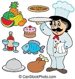 chef cuistot, divers, dessin animé, repas