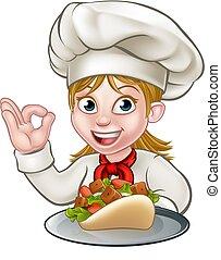 chef cuistot, femme, chiche-kebab