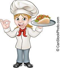chef cuistot, femme, dessin animé, chiche-kebab