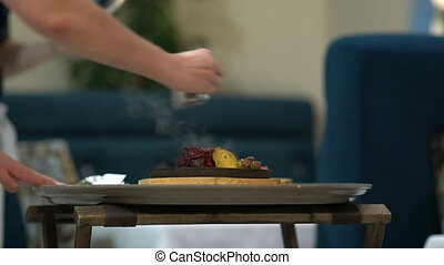 chef cuistot, flambe, nourriture, alcool, moule