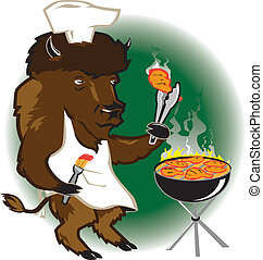 chef cuistot, gril, bison